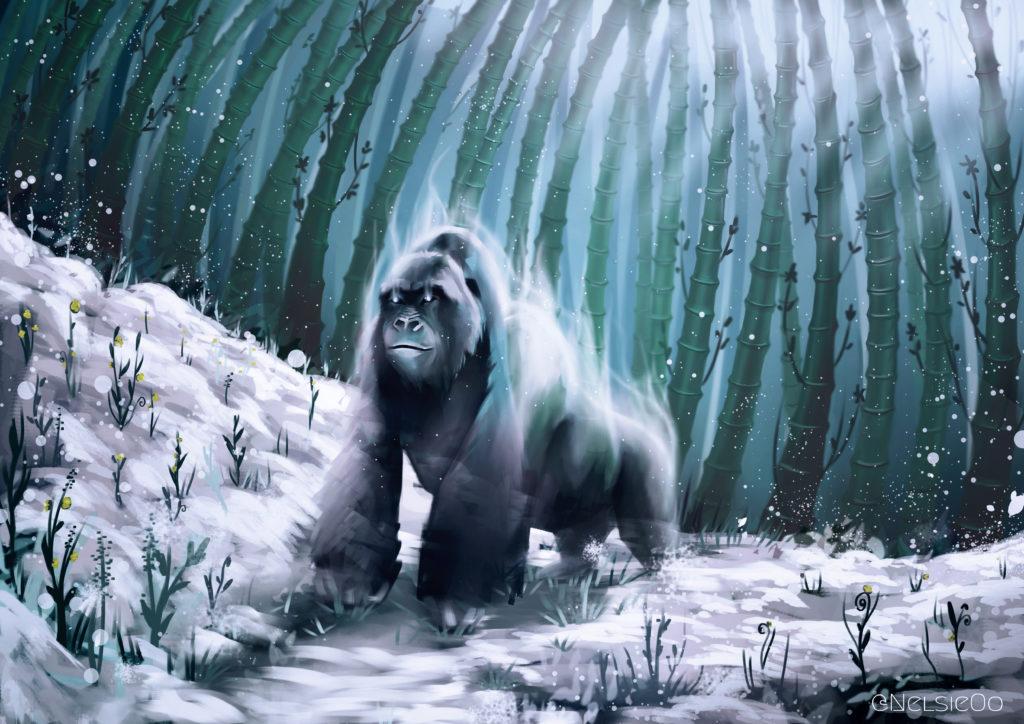 digital painting gorille